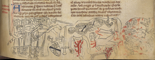 BL MS Nero D ii f177 - Mutilation of Simon de Montfort,