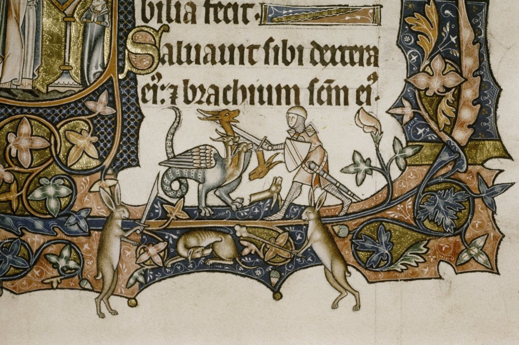 "Image: Detail of a Knight fighting a beast. From Bodleian MS. Douce 366, fol. 128r, ""The Ormesby Psalter"""