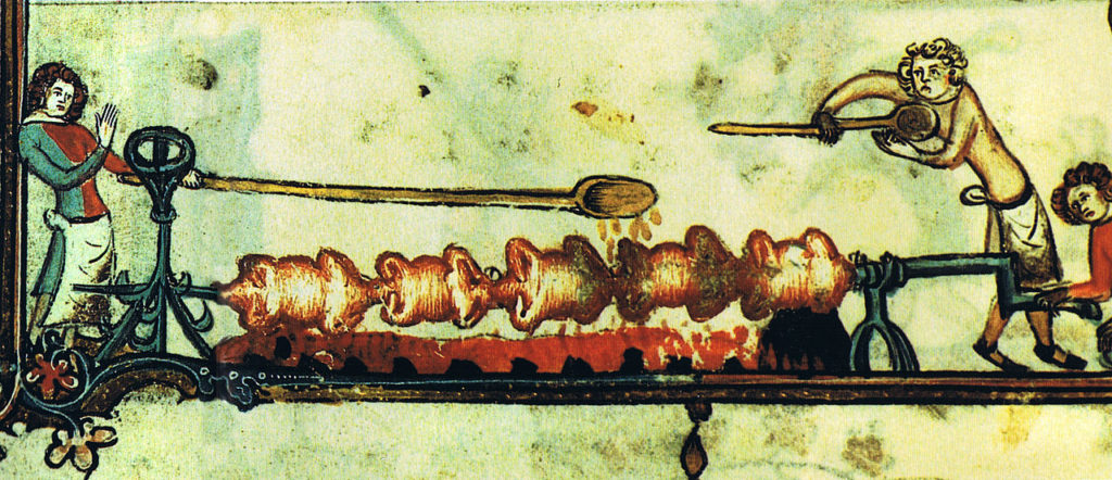 Birds on a Spit - Detail from Bodleian MS 264, f. 170v