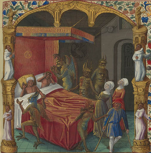Demons around a bedside, detail from Bibliothèque Nationale de France, MS Français 449, f. 64r.