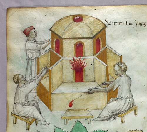 Glassmaking, detail from British Library MS Sloane 4016, f. 101v.