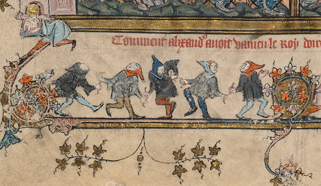 Detail of dancers from Bodleian Library MS 264 f. 51v.