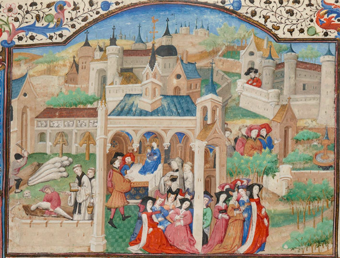 Detail from a 15th-century French manuscript of the Decameron (Bibliothèque nationale de France, Département des manuscrits, Français 239, fol. 1r.)