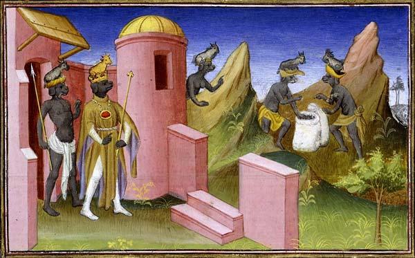 Detail of the Cynocephali of Nicobar, from a 15th-century manuscript of the Itinerarium (or Livre des Merveilles) of Odoric of Pordenone. Paris, Bibliothèque nationale de France, département des Manuscrits, Français 2810, fol. 106.