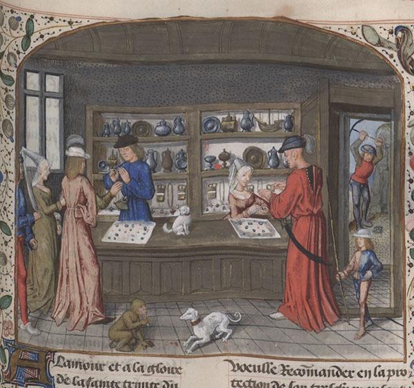 Illustration of a jewel merchant from a manuscript of the Lapidary of Jean de Mandeville, ca. 1480, in Bibliothèque nationale de France, MS Français 9136, f. 344r.