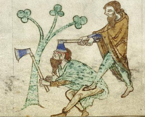 Image of one man attacking another with an axe, from British Library Royal 13 B VIII f. 28.